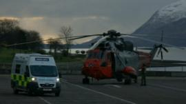 Ambulance and helicopter in Glencoe