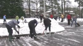 Clearing snow at south Wales school