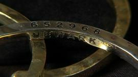 Bangle made from melted down weapons