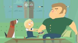 Animation of futuristic family