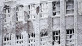 Ice covered warehouse