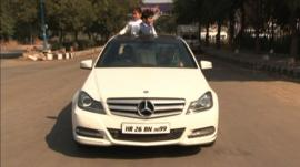Mr Sehrawat in his Mercedses car