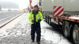Steve Godden in snowy lay-by in Dundee