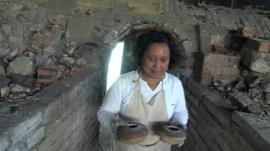 Lady with dragon kiln pottery