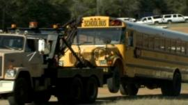 School bus being towed