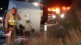 Scene of the crash on Highway 38 north of Yucaipa, California, on 3/2/13