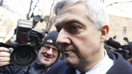 Chris Huhne outside court