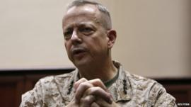 General John Allen, the outgoing commander of U.S. and NATO forces in Afghanistan
