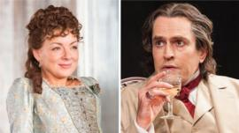 Sheridan Smith as Hedda Gabler and Rupert Everett as Oscar Wilde in The Judas Kiss