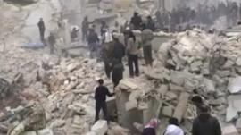 Rubble in Aleppo (still from amateur footage)