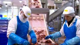 Meat on a production line