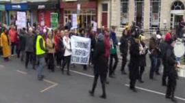 Protesters march through Llandudno