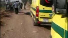 Ambulances by balloon crash site near Luxor