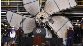 President Barack Obama speaks at Newport News Shipbuilding in Newport News, Virginia