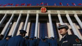 Police outside the Great Hall of the People, Beijing, China (4 March 2013)