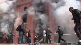 Building ablaze in Cairo