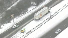 Stranded truck on motorway