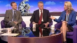 Steve Webb, Hilary Benn and Julie White