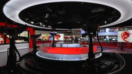 Huw Edwards in new BBC news TV studio