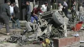 Debris of car used in explosion in Baghdad