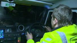 Rescue service driver at the wheel
