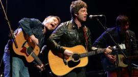 Damon Albarn, Noel Gallagher and Graham Coxon performing on stage during the Teenage Cancer Trust gig, at the Royal Albert Hall in London