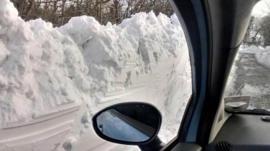 Deep snow outside car door