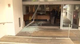 Damaged building entrance