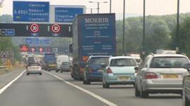 Congestion on the M4 at Newport