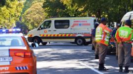 Ambulance at Mandela's home