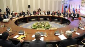 Delegates at talks