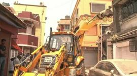 Unauthorised building being demolished in Mumbai