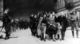 Captured Jewish civilians who participated in Jewish ghetto uprisings