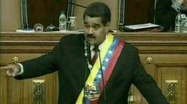 Nicolas Maduro after being sworn in as president