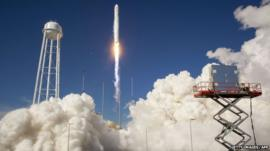 The Antares rocket as it launches from the NASA Wallops Flight Facility in Virginia