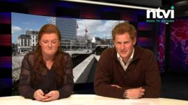 Prince Harry reading the news with co-presenter