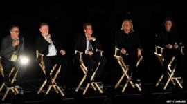 Director of the Sundance Film Festival John Cooper, Musicians Don Henley, Glenn Frey, Joe Walsh and Timothy B. Schmit of The Eagles speak at the