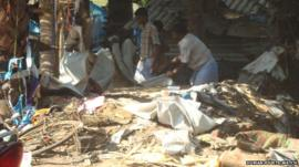 The remains of a shelter that was shelled on 21 March 2009 in Valayanmadam, killing five civilians and injuring nine