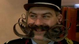 Contestant in the annual beard and moustache championship in Pforzheim