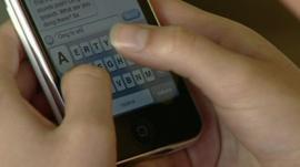 Girl sending text message
