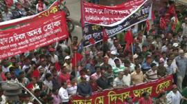 Protesters in Dhaka