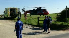 Air ambulance lands