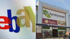 eBay logo and Oak Furniture Land store