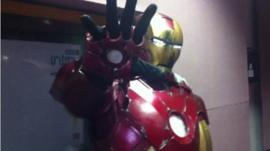 Archie Whitehead at BBC Three Counties in his Iron Man costume