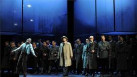 Staging of Tannhauser at the Deutsche Oper am Rhein in Duesseldorf
