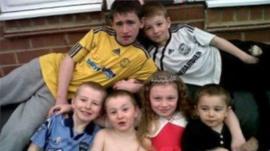 Duwayne Philpott, 13, Jade, 10, and brothers John, nine, Jack, seven, Jesse, six, and Jayden, five