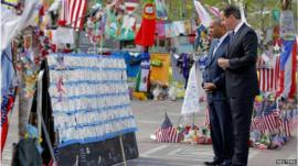 David Cameron at Boston marathon bombing memorial
