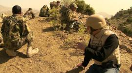 The BBC's David Loyn with Afghan troops