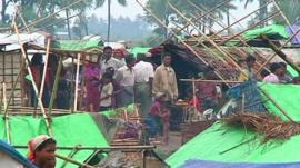 Rohingya Muslims in a refugee camp