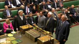 MPs announce the vote in the Commons